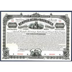 Memphis, Selma and Brunswick Railroad Co., 1882 Specimen Bond.