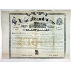 Illinois, Missouri, and Texas Railway Co. 1871 Gold Bond.