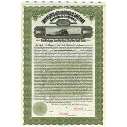 San Pedro, Los Angeles & Salt Lake Railroad Co., 1911 Specimen Bond.