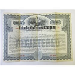 Union Pacific Railroad Co., 1908 Specimen Bond