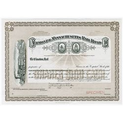 Vermont & Massachusetts Rail Road Co., 1900-1930 Specimen Stock Certificate.