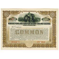 Newport News and Hampton Railways Gas and Electric Co., 1914 Specimen Stock Certificate