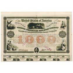 Virginia & Tennessee Rail Road Co., 1853 Cancelled Bond