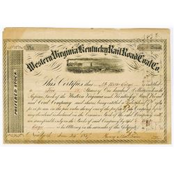 Western Virginia and Kentucky Rail Road and Coal Co., 1857 Stock Certificate.