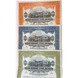 Chicago, Milwaukee, St. Paul and Pacific Railroad Co., 1925 Trio of Specimen Bonds.