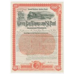 Green Bay, Winona and St.Paul Railroad Co. 1892 issued Bond.