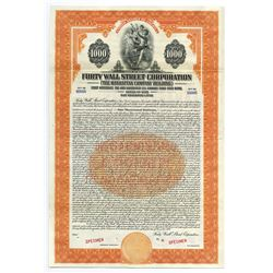 Forty Wall Street Corp. (Right Across from the Stock Exchange), 1929 Specimen Bond.