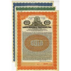 Lower Broadway Properties, Inc., 1926 & 1927 Specimen Bond Lot of 3 for the 50 Broadway Building.