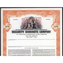 Security Banknote Company 1965 Merger Specimen Bond.