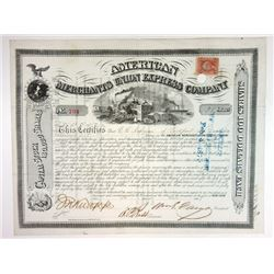 American Merchants Union Express Co 1868 Stock Certificate Signed by William Fargo as President.