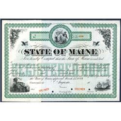 State of Maine, Specimen Bond.
