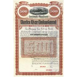 Charles River Embankment Co, 1885 Specimen Bond.