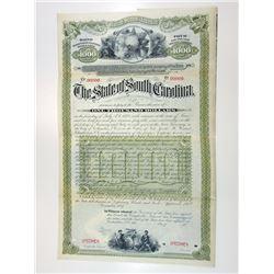 State of South Carolina, 1887 Specimen Bond