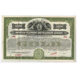 American Telephone and Telegraph Company, 1918 Specimen Bond.