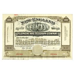 New England Telephone and Telegraph Co., 1900-1910 Specimen Stock Certificate.