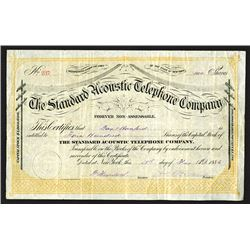 Standard Acoustic Telephone Co., 1886 Stock Certificate.