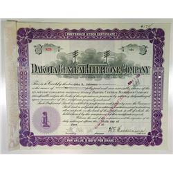 Dakota Central Telephone Co., 1930 Cancelled Stock Certificate