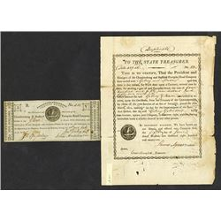 Chambersburg & Bedford Turnpike Road Co., 1818 Obsolete Banknote & 1821 Issued Stock.