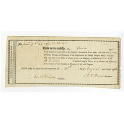 Sussquehannah and Lehigh Turnpike Road, 1816 Stock Certificate.