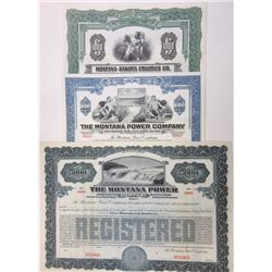 Montana Utilities Specimen Bond Lot of 3, ca.1913 to 1946.