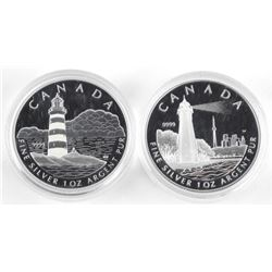 Lot (2) .9999 Fine Silver $20.00 Coins 'Lighthouse