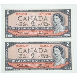 Lot Bank of Canada 1954 - Two Dollar Note. Modifie