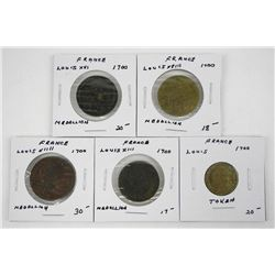 Lot (5) Medallions and Token France 1700