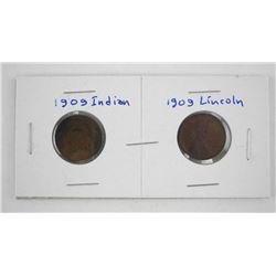 Lot (2) US 1909 Cents Indian and Lincoln