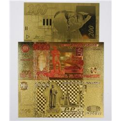Lot (3) 24kt Gold Banknotes with C.O.A.