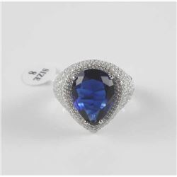 Ladies .925 Sterling Silver Ring Size 8, PEar Cut