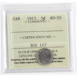1915 Canada 5 Cent AU-55 ICCS.