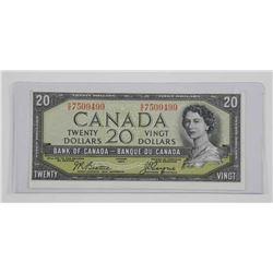 Bank of Canada 1954 Twenty Dollar. Devils Face.
