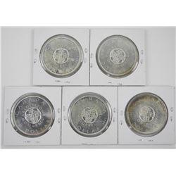 Lot (5) 1964 Silver Dollars