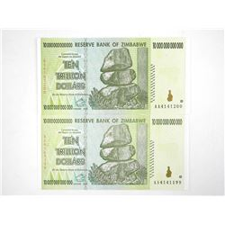 Lot (2) 'Reserve Bank of Zimbabwe' Ten Trillion Dollar Notes 'Original Notes' In Sequence (1-ZD = 0.