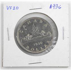 1936 Canada Silver Dollar VF20