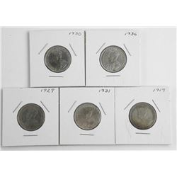 Lot (5) George Canada Silver 25 Cent: 1919, 1929,