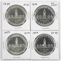 Lot (4) 1939 Canada Silver Dollar