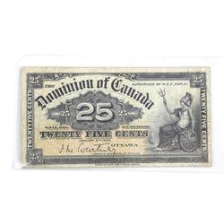 Dominion of Canada 1900 Twenty Five Cent Note (F) (ME)