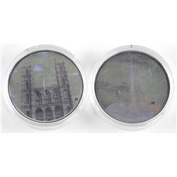 Lot (2) .9999 Fine Silver $20.00 Coins Landmarks w