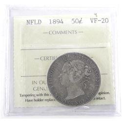 NFLD 1894 50 Cent VF-20. ICCS (SMR)