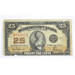 Dominion of Canada Twenty Five Cent Note (F+)