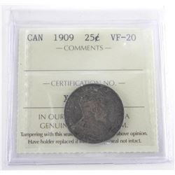 Canada 1909 25 Cent VF-20. ICCS. (SSE))