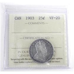 Canada 1903 25 Cent VF-30. ICCS. (SMR)