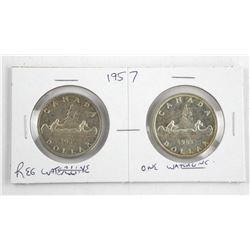 Lot (2) 1957 Canada Silver Dollar Regular Waterlin