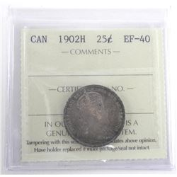 Canada 1902H 25 Cent. EF-40 ICCS. (SCR)