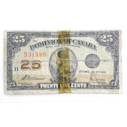 Estate - 1923 Dominion of Canada 25 Cent Note (G)