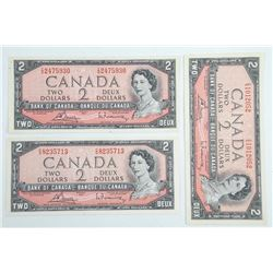Lot (3) Bank of Canada 1954 2.00 UNC - B/R