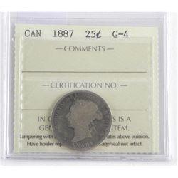 1887 Canada 25 Cent.G-4 . ICCS.