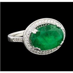 5.95 ctw Emerald and Diamond Ring - 14KT White Gold