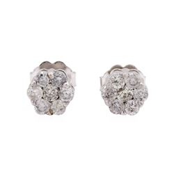 0.50 ctw Diamond Cluster Studs - 14KT White Gold